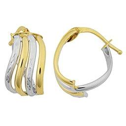【中古】【輸入品・未使用】Kooljewelry 14K ツートンゴールド 4列 ウェービーフープピアス