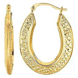 【中古】【輸入品・未使用】10k Yellow Gold Weave Texture Design Oval Shape Hoop Earrings