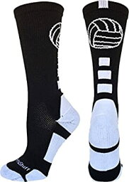 【中古】【輸入品・未使用】MadSportsStuff バレーボールロゴ クルーソックス 複数色 M ブラック