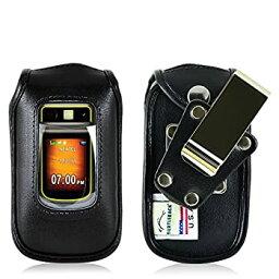【中古】【輸入品・未使用】Motorola i680ブルートフォン用タートルバックフィットケース ブラックレザー回転取り外し可能メタルベルトクリップ アメリカ製