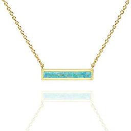 【中古】【輸入品・未使用】(Green - Polished) - PAVOI 14K Gold Plated Thin Bar Green/White Created Opal Necklace Pendant 41cm - 46cm