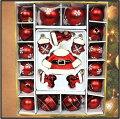 クリスマスツリーオーナメントガラスオーナメント22個セットサンタ/サンタクロース/ボール6cm・8cm/クリスマスツリー/装飾/ガラス/デコレーション/飾り/キラキラ/ハンドペイント/ガラスボール