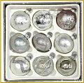 クリスマスツリーオーナメントガラスオーナメント14個セット9cm/ホワイト系/クリスマスツリー/装飾/ガラス製/デコレーション/飾り/キラキラ