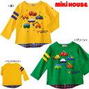 ミキハウス(おすすめ)mikihouseプッチー働く車の重ね着風長袖Tシャツ日本製(80cm、90cm)
