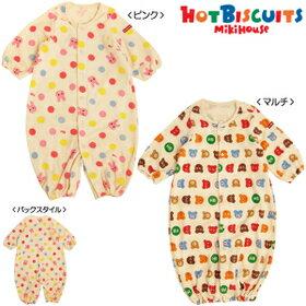 ミキハウスHOTBISCUITS(おススメ)mikihouseパイルプリント☆ツーウェイオール(50cm〜60cm)