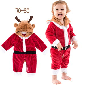 1076051287c15 ... もこもこ 着ぐるみ クリスマス 赤ちゃん コスチューム イベント コンサート サンタコス ベビーサンタトナカイ カバーオール  男の子 女の子  共用帽子付き 70-80.