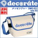デコレートキッズバッグショルダーバッグミニメッセンジャーバッグ帆布素材ホワイト×ブルー