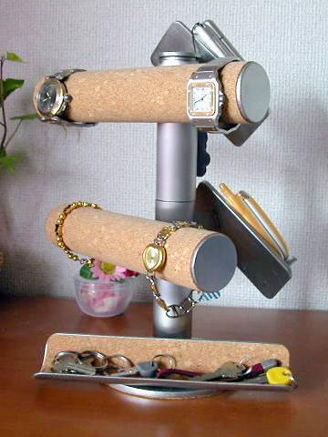 腕時計 スタンド 腕時計&携帯スタンド大きいトレイ付き:なんでもディスプレイ!工房