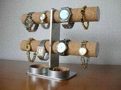 ダブル丸トレイ8本掛けインテリア腕時計スタンド