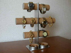 3段8本掛け腕時計スタンド丸トレイバージョン