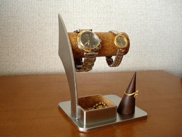 時計 スタンド 2本掛け腕時計スタンド 指輪スタンド、トレイ付き 誕生日プレゼントにどうですか?