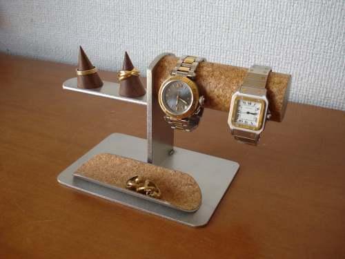 腕時計スタンド 2本腕時計&指輪スタンドトレイ付きAK101