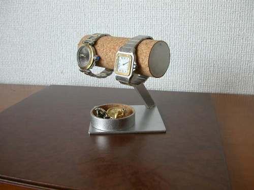 腕時計、アクセサリー 収納 2本掛け丸トレイ菱台座腕時計スタンド★AK43
