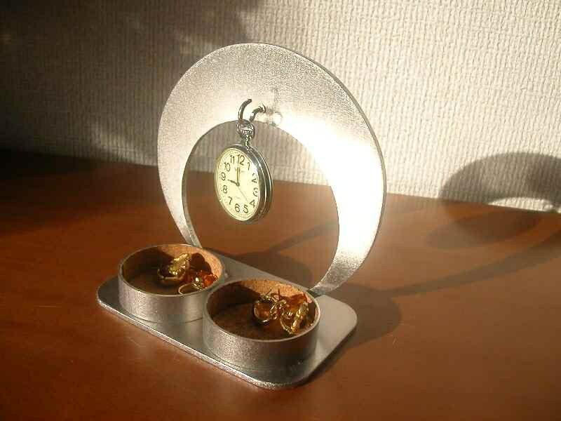 懐中時計スタンド 三日月懐中時計収納スタンドダブル丸トレイ★CK5