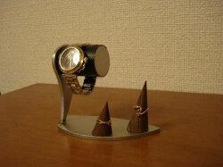 デザインブラックコルクデスク腕時計スタンドダブルリングスタンド付きWS137