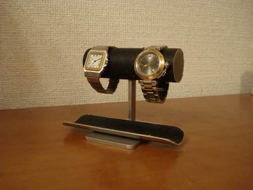 腕時計スタンド 送料無料ブラック2本掛けウォッチ収納ケーススタンド BW88