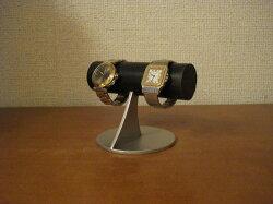 ブラック丸パイプコルク貼り小粒な腕時計スタンド★パイプオールブラックコルク貼りRAK728