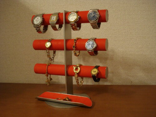 時計収納 レッド12本掛けロングトレイ腕時計スタンド RAK419