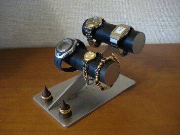 ウォッチ スタンド ブラック腕時計ケース風4本掛け腕時計スタンド ダブル木製リングスタンド付き RA8443