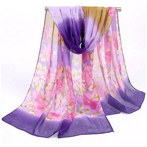 ストール 花柄 ロング 大判 春 夏 マフラー 花柄 薄地 透け UVカット 日焼け止め 涼しい おしゃれ エレガント 紫 ピンク パープル プリント レディース