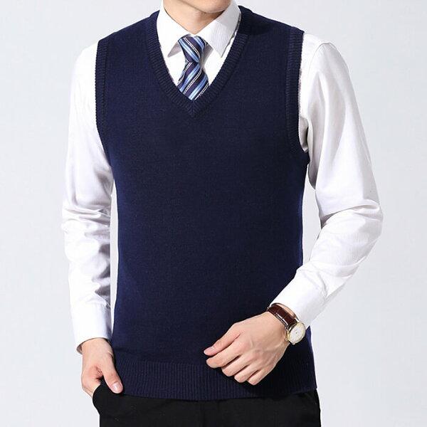ベストニットメンズ男性温かい大きいサイズ防寒春秋冬ビジネス定番格好いいシンプルイギリスジェントルマン無地セータープルオーバー