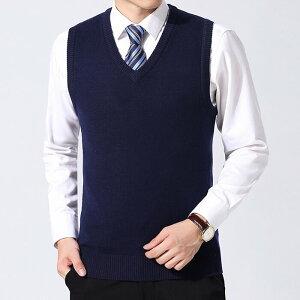 ベスト ニット メンズ 男性 温かい 大きいサイズ 防寒 春 秋 冬 ビジネス 定番 格好いい シンプル イギリス ジェントルマン 無地 セーター プルオーバー
