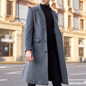チェスターコート ジャケット メンズ アウター 黒 グレー ビジネス 通勤 ロング シンプル 手厚い 大きいサイズ 冬 秋 紳士服 20代 30代 40代 カシミヤ ウール