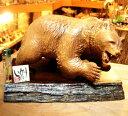 送料無料 えんじゅの木で製作された 熊の木彫りの置物 【いかり熊】 北海道 木彫り熊 木製 木工