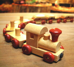 木製おもちゃ 磁石付き連結 汽車ポッポ