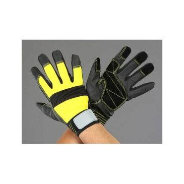 【キャンセル不可】[EA353BG-97] L ポリウレタン手袋(豚革あて付/黒・黄) EA353BG97
