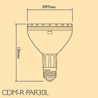 フィリップス 高効率セラミックメタルハライドランプ リフレクタータイプ 70W 色温度4200K 外径Φ97mm ビーム角40° CDM-R70W/942PAR30L40°