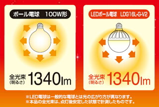 【あす楽対応】LED電球E26電球色昼白色LEDボール球LDG16L-G-V2・LDG16N-G-V2【1340lmled電球e26100w相当E26アイリスオーヤマ電球led26口金一般電球照明器具led照明消費電力長寿命インテリア照明おしゃれ交換電球ボール電球】【★2】