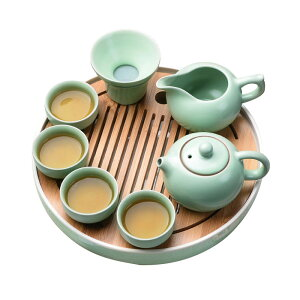茶道具 中国茶道具 茶器セット 陶器 急須セット 工夫茶 茶芸 湯呑み 茶盤 木製 かわいい 贈り物 お礼 来客 8点セット