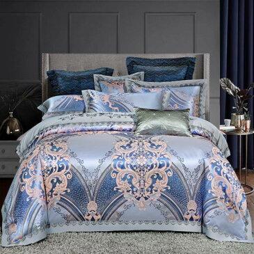 超贅沢のテンセル刺繍 豪華はもちろん、ロマンティックなお部屋を演出する 60番手系高密度織りの超長綿 ★布団カバーセット ベッドカバー シングルorセミダブルorダブルorクイーン 合計4点★送料無料