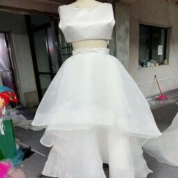 ウエディングドレス スレンダータイプ サテン オーガンジー セパレートドレス サテントップス+ふわふわスカート