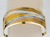 【バングル】天然ダイヤモンドデザインバングルK18YGイエローゴールドプラチナPT900天然ダイヤモンドD1.01ct【中古】【美品】【新品仕上げ】