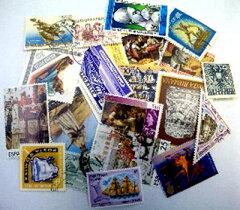 アイデア商品の使用ずみ切手のパックです。たくさん入ってます!素敵なデコレーション雑貨【メ...