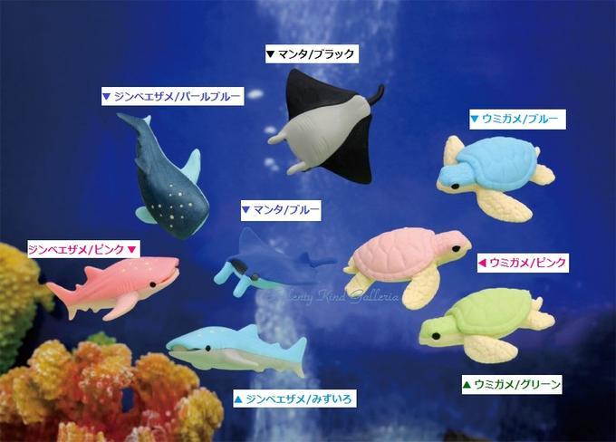 【新入荷】シーアニマル消しゴム【ご選択:ジンベエザメ(パールブルー、ピンク、水色)マン(ブラック、ブルー)ウミガメ(ブルー、ピンク、グリーン】ER-SEE002★海の生き物亀面白消しゴムおもしろグッズ海の動物けしごむ消しごむ★【3cmメール便OK】