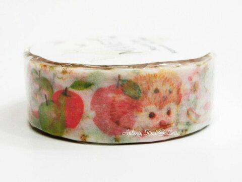 【Manet Vol.3】Apple Hedgehog/アップルヘッジホッグ MN−MT−043 MANETマスキングテープ ★幅15mmのマステはりねずみ柄りんご柄装飾デコシールテープマネットマスキングテープ/針鼠ハリネズミグッズ★【3cmメール便OK】