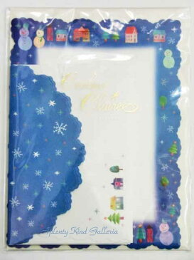 【Xmasグッズ】レターセット ウィンタータウン C-8052 ★便箋10枚、封筒4枚セット★★雪の結晶柄クリスマスナイト星空夜空デザイン街並み柄雪だるまツリー/クリスマス柄のお手紙セットレターパックダイカット封筒★【3cmメール便OK】
