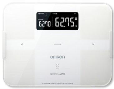 【中古】OMRON オムロン 体重体組成計 カラダスキャン ホワイト Karada Scan HBF-254C-W 体重計 体組成計 スマホアプリ連携 iPhone x Bluetooth、Android x NFC スマートフォン対応 デジタル フラット