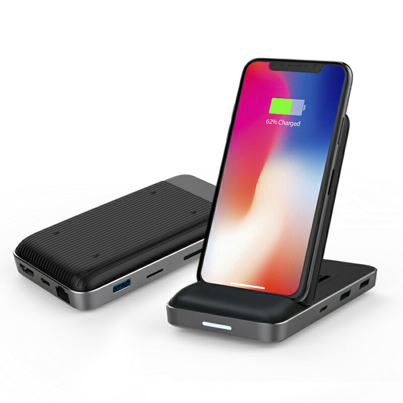 Hyper Drive 8in1 USB-C Hub + Qi Wireless Charger Stand