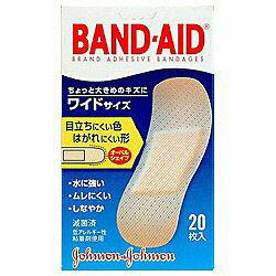 ジョンソン&ジョンソン 【バンドエイド】肌色タイプ ワイドサイズ20枚入〔ばんそうこう〕