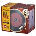 VERBATIMJAPAN 音楽用CD-R 10枚 700MB 80分 10mmジュエルケース レコードデザインのCD-R 5色のカラーレーベル AR80FHX10V6 Phono-R フォノアール AR80