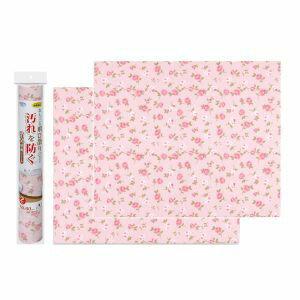 【サンコー】トイレ シート 壁の汚れ防止 おくだけ吸着 消臭壁面シート 50×60cm 花柄バラ 2枚入 ピンク KL-22
