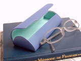 定形外送料無料★【訳あり】配色のおしゃれな★ハードメガネケース【ブルー×ライトグリーン】眼鏡拭き付き***#BL#GL