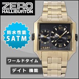 ゼロハリバートン腕時計デュアルタイムデイトZW004G-02ブラック×ゴールドZEROHALLIBURTON