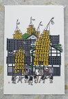 草薙デザイン事務所 絵はがき 「竿灯祭」町家と竿灯演技