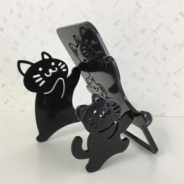 【スマホスタンド】 スマートフォン アイフォン アンドロイド 猫 かわいい キャラねこ(ワンピースタイプ)のおやこのネコちゃんがスマホ・iPhoneを支えます。鉄製で安定感があり、アイパッドも大丈夫!
