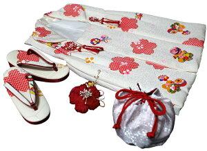 七五三着物 女児三歳用被布セット正絹 初節句 新品ht182